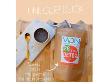 28 day detox vdn action detoxifiante gout citron, thé pêche, thé fruits rouges