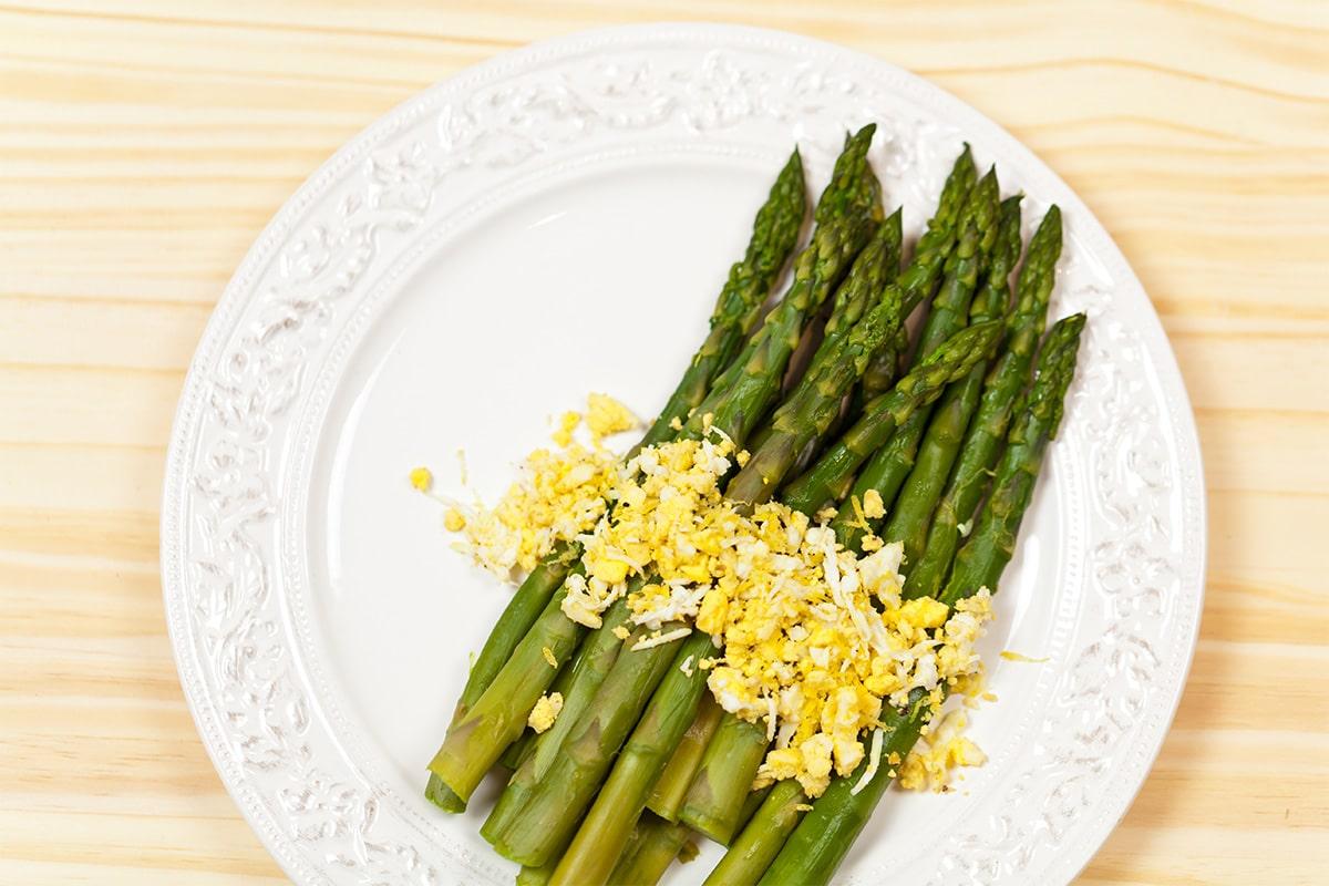 Recette Entrée Diet, Mimosa d'asperges vertes