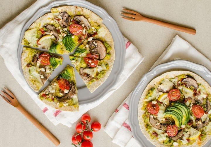 Pizza wrap végétarienne