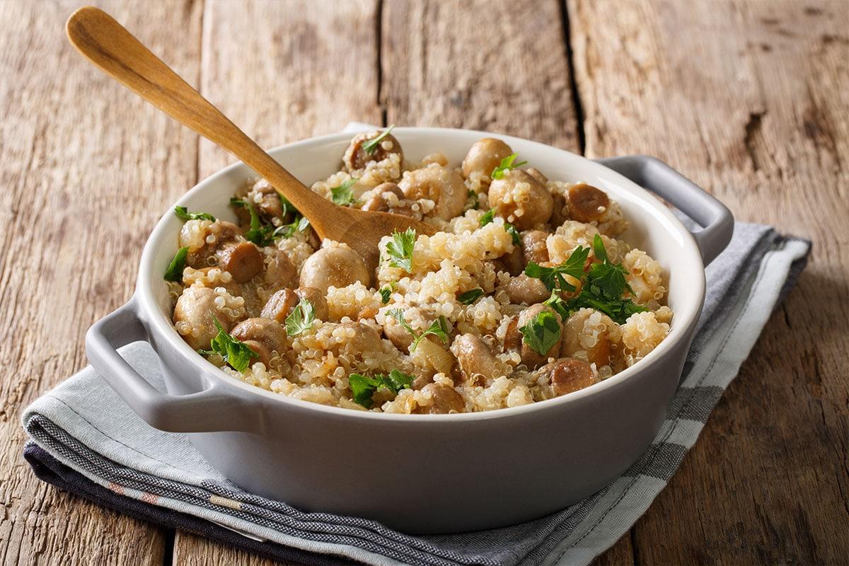 Quinoa aux champignons et à l'ail