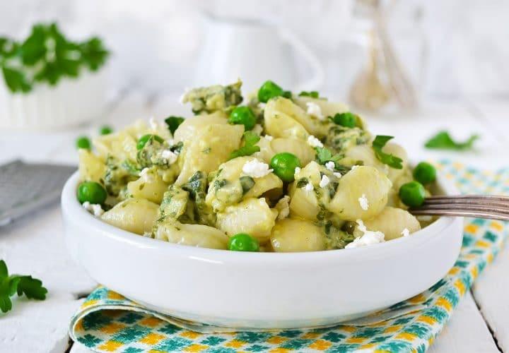 Salade Orecchiettes, Petits pois et courgettes